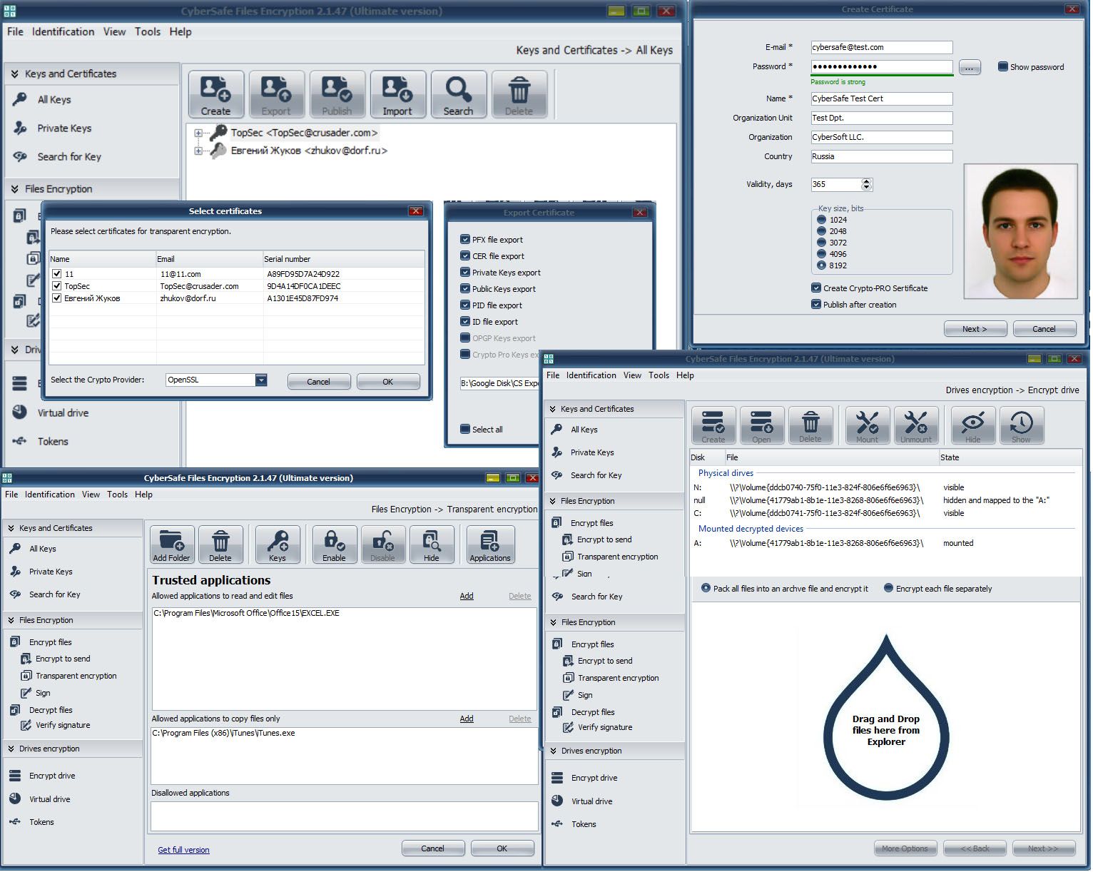 Screenshot of CyberSafe Files Encryption 2.1.5.1