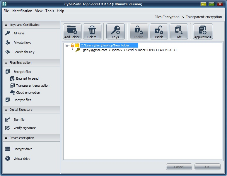 Cybersafe encryption software screenshot