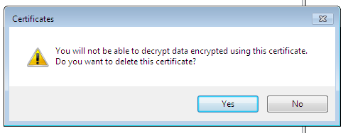 Warning at deleting of a certificate