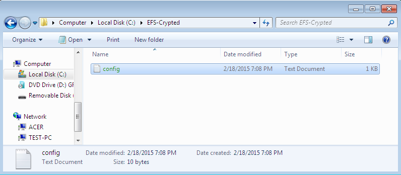 The content of the encrypted folder. Encryption software