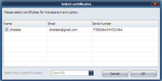 Choosing certificates for transparent encryption